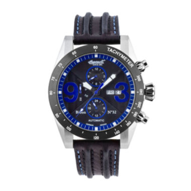 jcpenney.com | Ingersoll® Bison Mens Silver-Tone Black & Blue Automatic Sport Watch