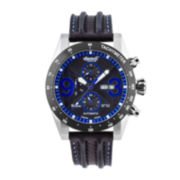 Ingersoll® Bison Mens Silver-Tone Black & Blue Automatic Sport Watch