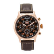 Ingersoll® Monticello Mens Rose-Tone Round Automatic Strap Watch