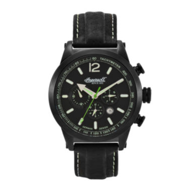 jcpenney.com | Ingersoll® Taos Mens Black Leather Strap Automatic Watch