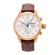 Ingersoll® Apache Mens Rose-Tone Leather Strap Automatic Watch