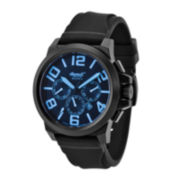 Ingersoll® Bison Mens Black & Blue Automatic Rubber Strap Watch
