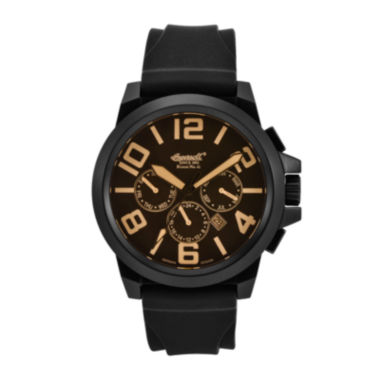 jcpenney.com | Ingersoll® Bison Mens Black & Orange Silicone Strap Automatic Watch