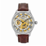 Ingersoll® Arizona Mens Silver-Tone Skeleton Brown Leather Strap Watch