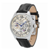 Ingersoll® Arizona Mens Silver-Tone Skeleton Black Leather Strap Watch