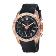 Swiss Eagle® Landmaster Mens Rose-Tone Black Rubber Strap Chronograph Watch