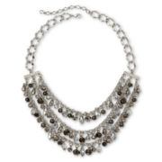 Metallic Glass Bead 3-Row Necklace