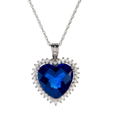 jcpenney.com | Lab-Created Blue & White Sapphire Heart Pendant Necklace