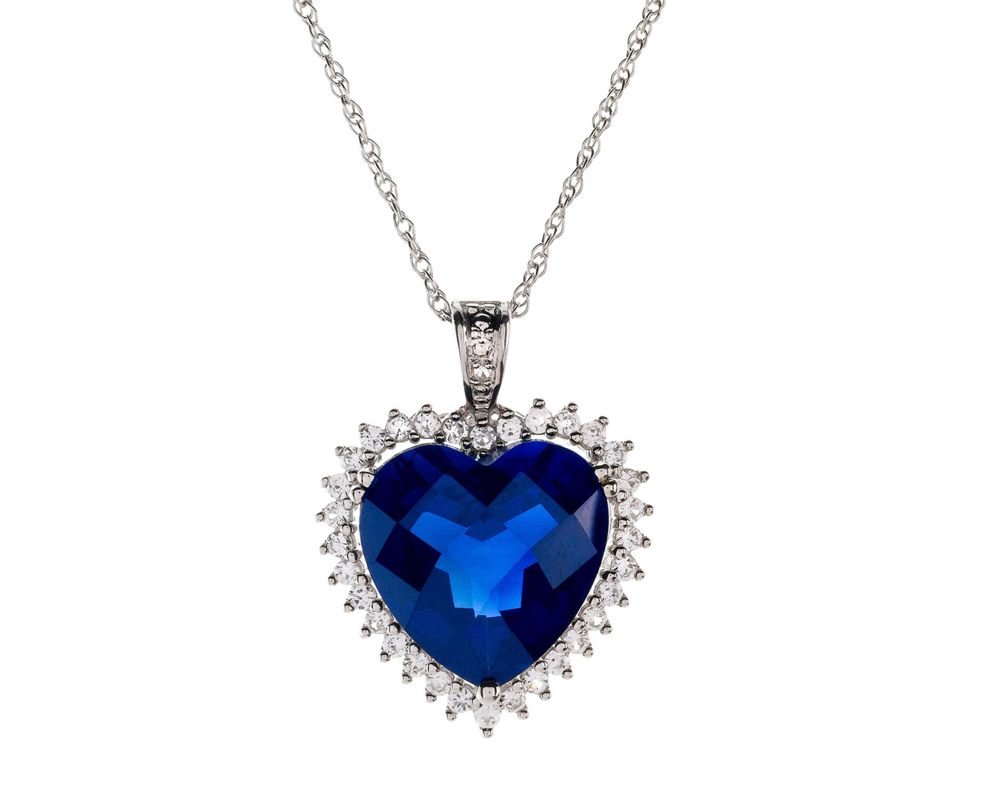 Lab-Created Blue & White Sapphire Heart Pendant Necklace