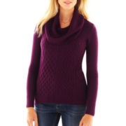 Cowlneck High-Low Cable Sweater - Petite