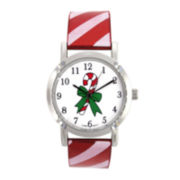 Womens Christmas-Themed Dial Strap Watch
