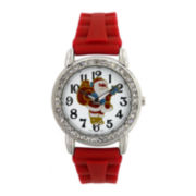 Womens Christmas-Themed Dial with Rubber Strap Watch