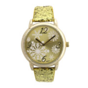 Womens Metallic Glitter Leather Strap Holiday Watch