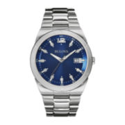 Bulova® Mens Blue Dial Stainless Steel Watch