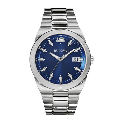 Bulova® Mens Blue Dial Stainless Steel Watch 96B220