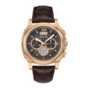 Bulova® Mens Brown Leather Strap Chronograph Watch
