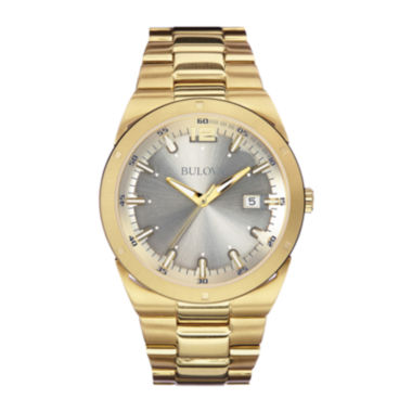 jcpenney.com | Bulova® Mens Gray Dial Gold-Tone Stainless Steel Watch 97B137