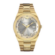Bulova® Mens Gray Dial Gold-Tone Stainless Steel Watch