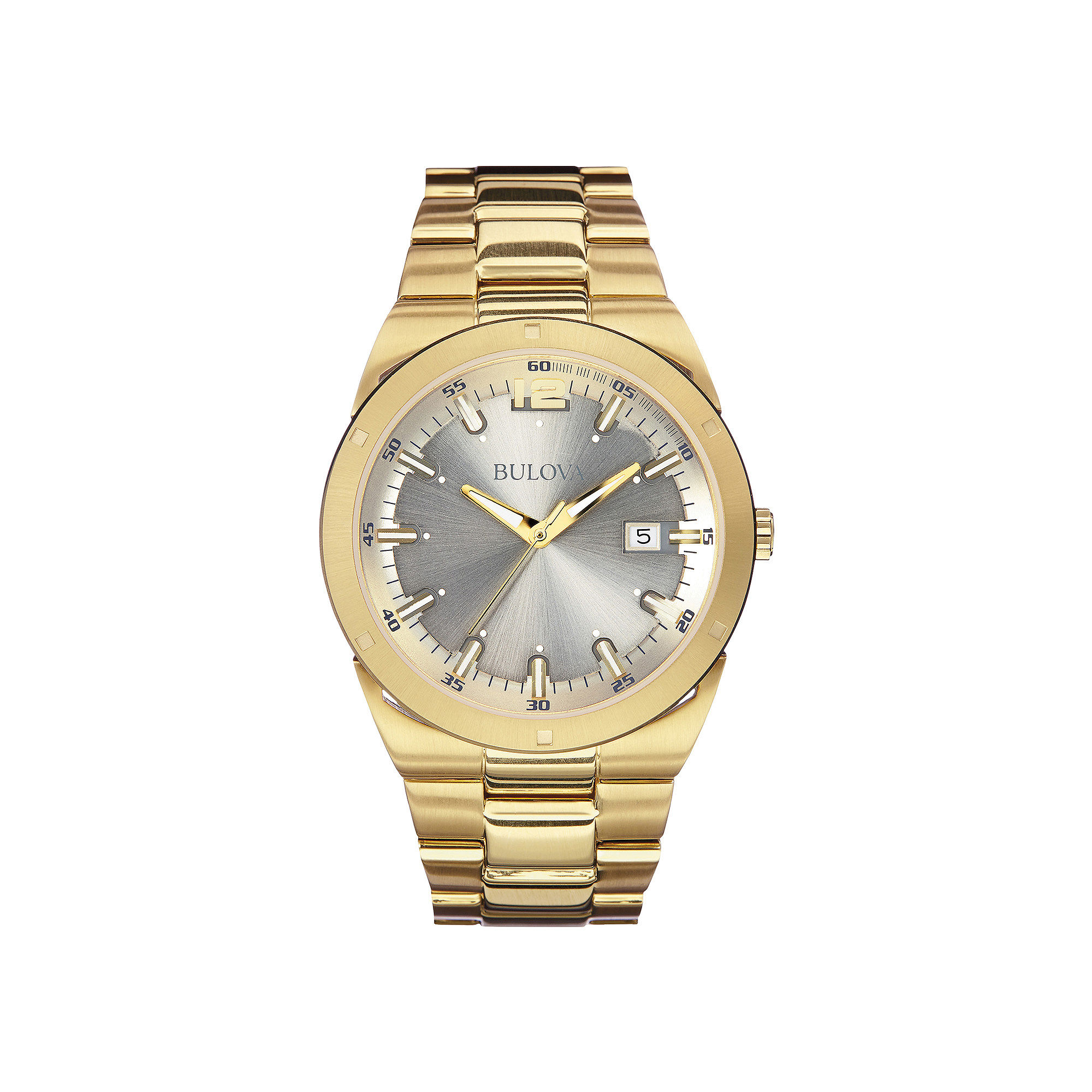 Bulova Mens Gray Dial Gold-Tone Stainless Steel Watch 97B137