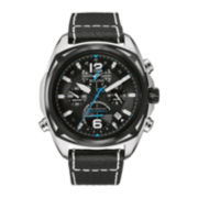 Bulova® Precisionist Mens Black Leather Strap Chronograph Watch