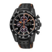 Seiko® Sportura Mens Black Leather Strap Solar Chronograph Watch SSC273
