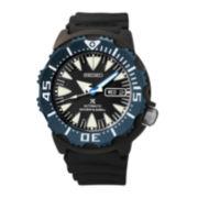 Seiko® Prospex Automatic Diver Mens Black Silicone Strap Watch SRP581