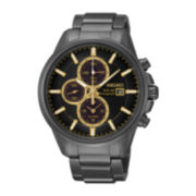 Seiko® Mens Black Stainless Steel Solar Chronograph Watch SSC269