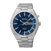 Seiko® Mens Stainless Steel Kinetic Watch SMY155