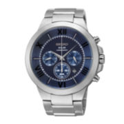 Seiko® Recraft Mens Stainless Steel Solar Chronograph Watch SSC281