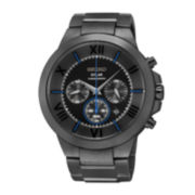 Seiko® Recraft Mens Black Stainless Steel Solar Chronograph Watch SSC287
