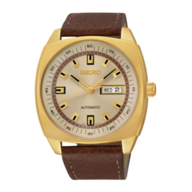 jcpenney.com | Seiko® Recraft Mens Brown Leather Strap Automatic Watch SNKN02