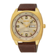 Seiko® Recraft Mens Brown Leather Strap Automatic Watch SNKN02