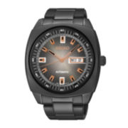 Seiko® Recraft Mens Black Stainless Steel Automatic Watch SNKM99
