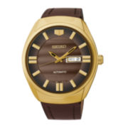 Seiko® Recraft Mens Brown Leather Strap Automatic Watch SNKN08