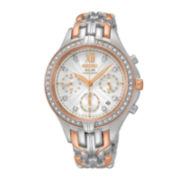 Seiko® Womens Crystal-Accent Two-Tone Solar Chronograph Bracelet Watch SSC874