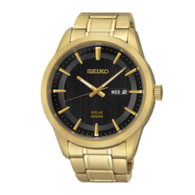 jcpenney.com | Seiko® Mens Gold-Tone Stainless Steel Solar Watch SNE368