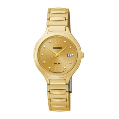 jcpenney.com | Seiko® Womens Gold-Tone Stainless Steel Solar Bracelet Watch SUT180