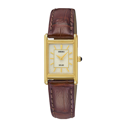 Seiko® Womens Brown Leather Strap Solar Watch SUP252