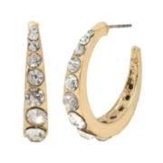 Bleu™ Crystal-Accent Gold-Tone Hoop Earrings