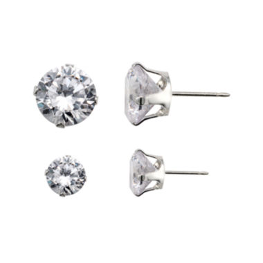 jcpenney.com | Sterling Silver Round Cubic Zirconia 2-pr. Stud Earring Set