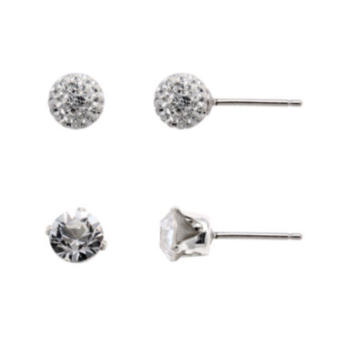jcpenney.com | Sterling Silver Cubic Zirconia 2-pr. Stud Earring Set