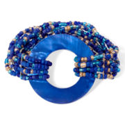 Mixit™ Gold-Tone Blue Shell and Seedbead Stretch Bracelet