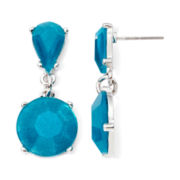 Mixit™ Silver-Tone Teal Double-Drop Earrings