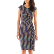 London Style Collection Cap-Sleeve Side-Drape Dress - Petite