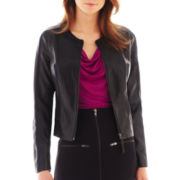 Worthington® Faux Leather-Trim Jacket - Tall