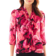 Worthington® 3/4-Sleeve Tie-Neck Blouse - Tall