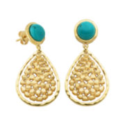 Turquoise & 18K Yellow Gold Over Sterling Silver Teardrop Earrings