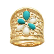 Turquoise 18K Yellow Gold Over Sterling Silver Band Ring