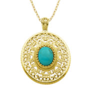 Turquoise 18K Gold Over Sterling Silver Medallion Pendant Necklace