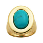 Turquoise 18K Yellow Gold Over Sterling Silver Oval Ring